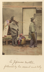 A Japanese mother followed by her servant and baby